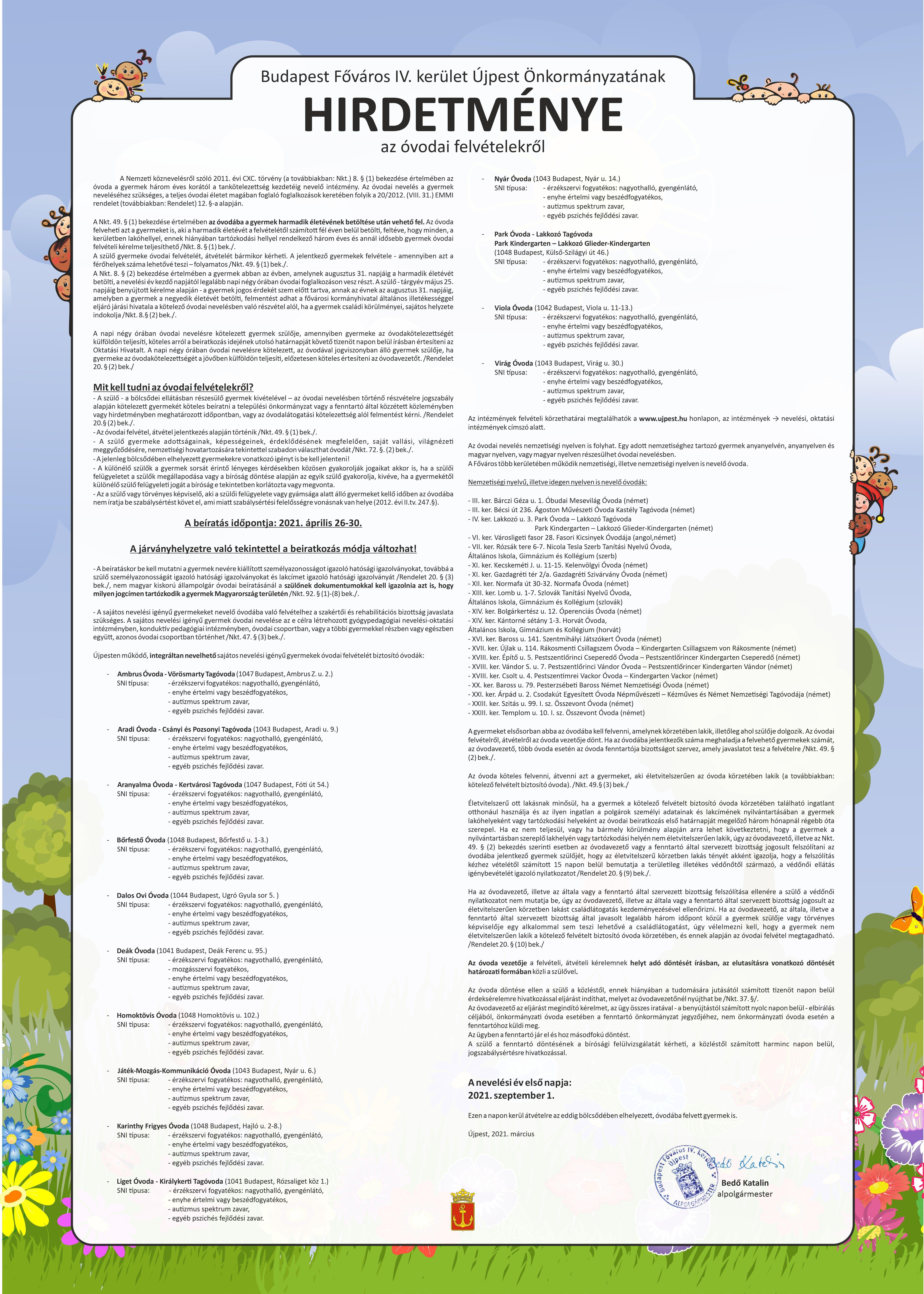 Intézkedési terv COVID-19 óvoda